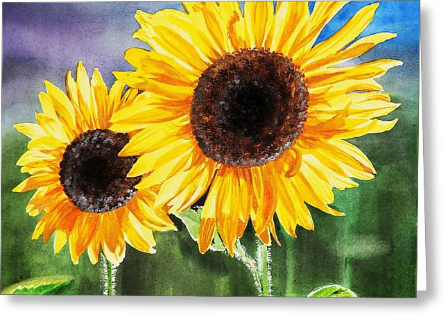 Sunflower Paintings Greeting Cards - Two Sunflowers Greeting Card by Irina Sztukowski