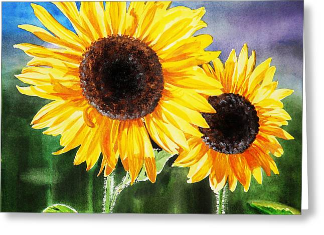 Pollen Greeting Cards - Two Suns Greeting Card by Irina Sztukowski