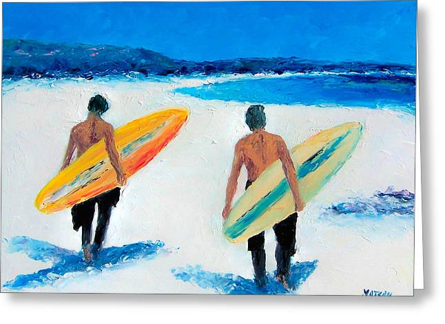 Surfer Art Greeting Cards - Two Surfers at Byron Bay Greeting Card by Jan Matson