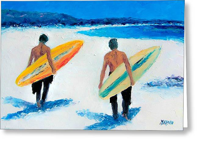 Surfer Paintings Greeting Cards - Two Surfers at Byron Bay Greeting Card by Jan Matson