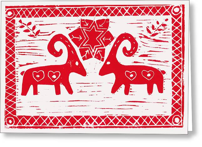 Block Reliefs Greeting Cards - Two Swedish Yule Goats Greeting Card by Lynn-Marie Gildersleeve