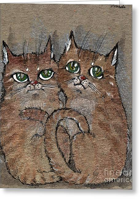 Two Tabby Cats Greeting Card by Angel  Tarantella