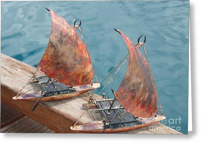 Canoe Sculptures Greeting Cards - Takia duo Greeting Card by Shane Bower