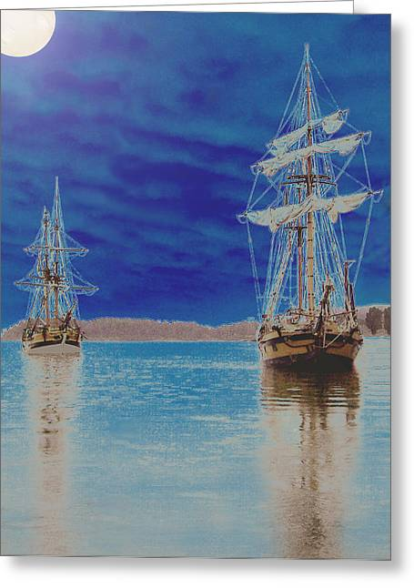 Lady Washington Mixed Media Greeting Cards - Two Tall Ships Under a Full Moon Greeting Card by Blythe Ayne