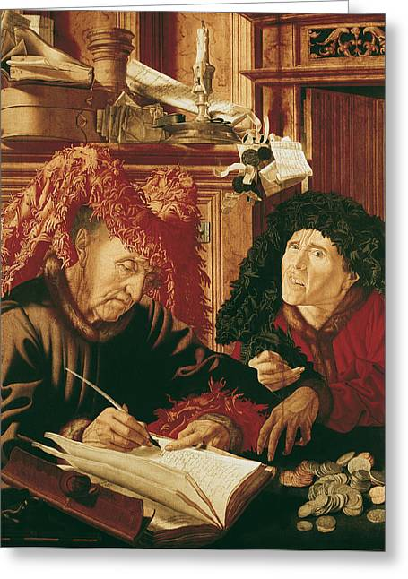 Coins Greeting Cards - Two Tax Gatherers, C.1540 Oil On Panel Greeting Card by Marinus van Reymerswaele