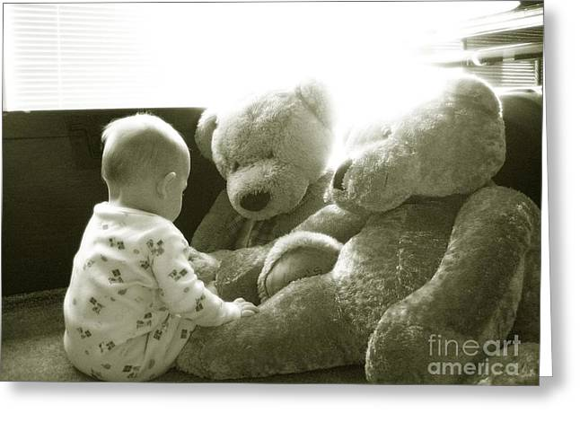 Two Teddy Bears Greeting Card by Cadence Spalding