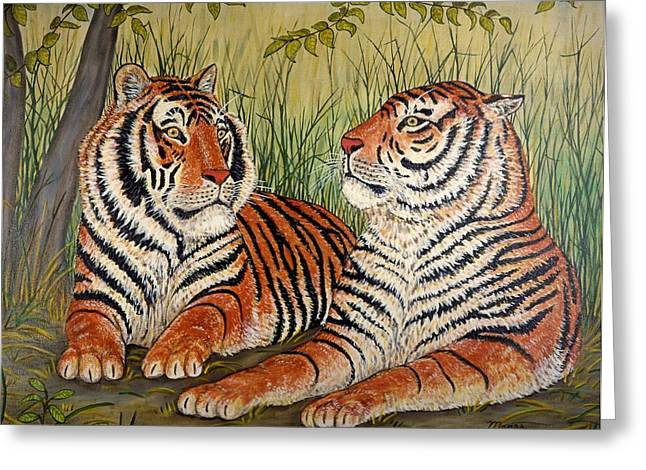 Two Tigers Greeting Card by Linda Mears
