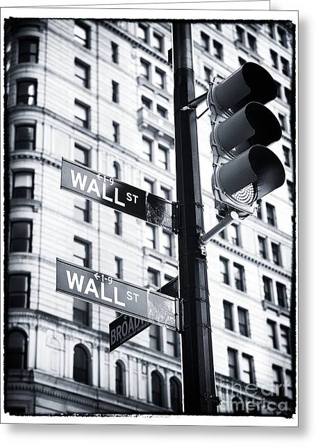 Broadway St Greeting Cards - Two Times Wall St. Greeting Card by John Rizzuto