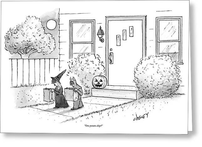 Two Tirck-or-treaters--one Is A Witch Greeting Card by Tom Cheney