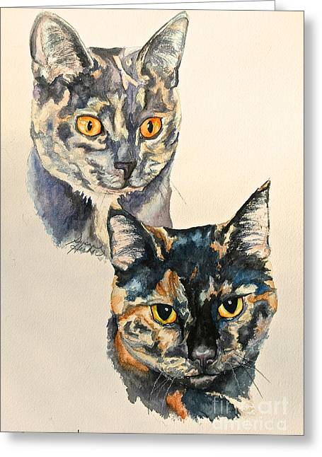 Litter Mates Paintings Greeting Cards - Two Tortis Greeting Card by Susan Herber