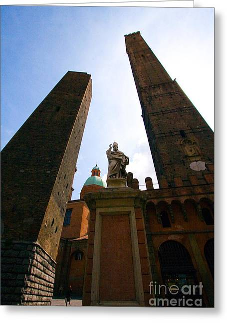 Two Towers Greeting Cards - Two Towers Of Bologna Greeting Card by Tim Holt