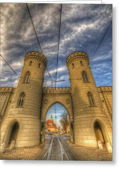 Old Town Digital Art Greeting Cards - Two towers Potsdam Greeting Card by Nathan Wright