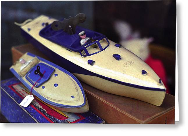 Toy Shop Greeting Cards - Two Toy Motor Boats Greeting Card by Rene Sheret