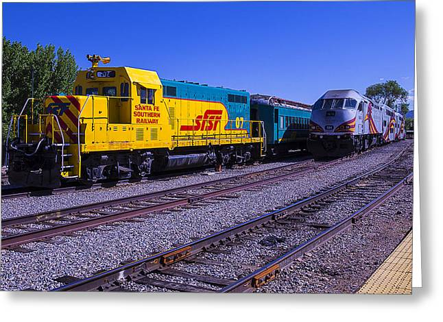 Depot Greeting Cards - Two Trains Greeting Card by Garry Gay