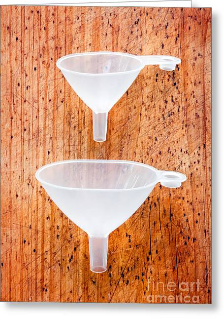 Experiment Greeting Cards - Two Transparent Funnels Greeting Card by Tim Hester