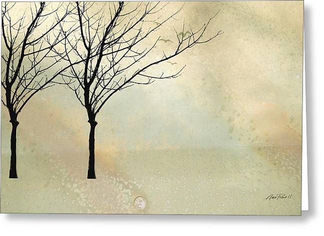 Bare Trees Greeting Cards - Two Trees Greeting Card by Ann Powell