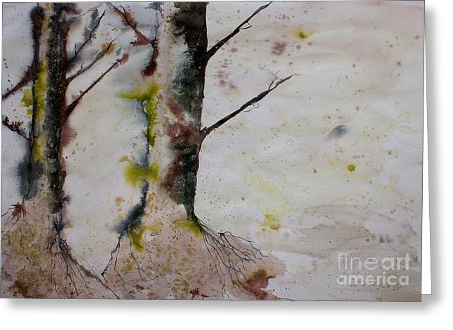 Tree Roots Drawings Greeting Cards - Two Trees Greeting Card by JM Brannigan