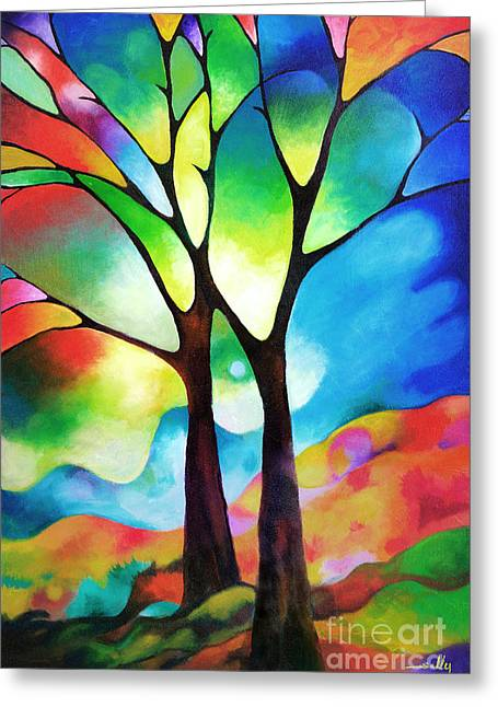Colorful Trees Greeting Cards - Two Trees Greeting Card by Sally Trace
