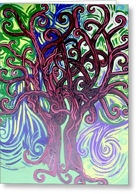 Mother Earth Greeting Cards - Two Trees Twining Greeting Card by Genevieve Esson