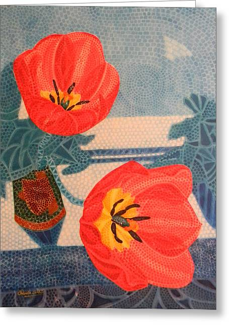 Adel Nemeth Greeting Cards - Two Tulips Greeting Card by Adel Nemeth