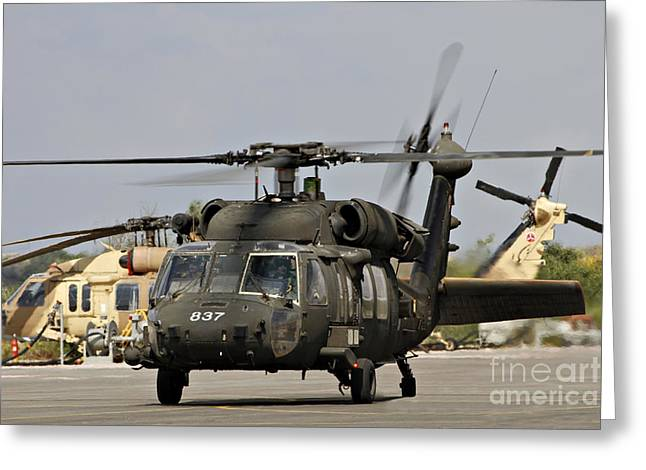 Foreign Military Greeting Cards - Two Uh-60l Yanshuf Helicopters Greeting Card by Ofer Zidon
