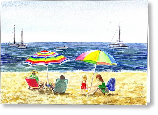 Two Umbrellas On The Beach California  Greeting Card by Irina Sztukowski