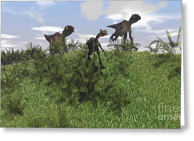 Dromaeosaurid Greeting Cards - Two Utahraptors Chasing A Gigantoraptor Greeting Card by Kostyantyn Ivanyshen