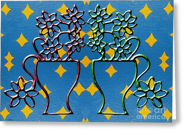 Buy Tshirts Mixed Media Greeting Cards - Two Vases Greeting Card by Patrick J Murphy