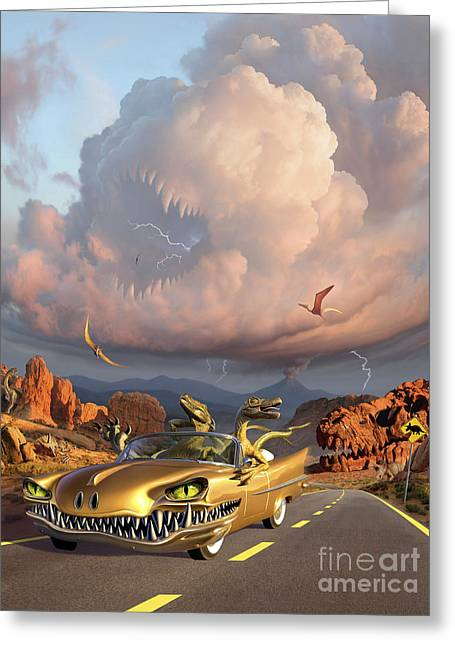 Horror Car Greeting Cards - Two Velociraptors In Their Scary Car Greeting Card by Jerry LoFaro
