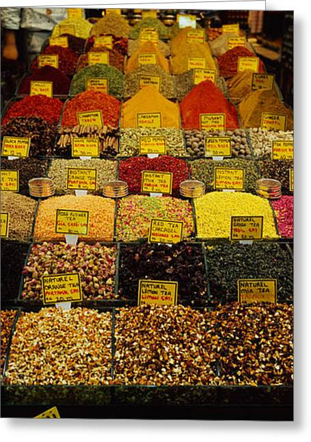 Casual Clothing Greeting Cards - Two Vendors Standing In A Spice Store Greeting Card by Panoramic Images