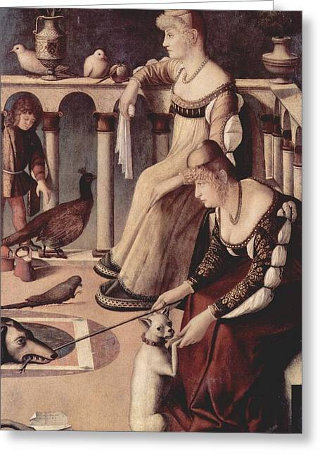 Venetian Balcony Greeting Cards - Two Venetian Ladies Greeting Card by Vittore Carpaccio
