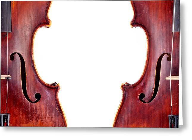 White Chopin Greeting Cards - Two Violins Greeting Card by Chevy Fleet