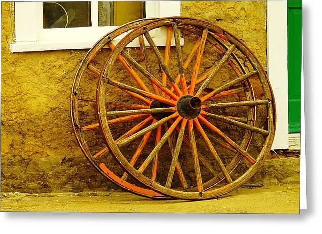 Wagon Wheels Greeting Cards - Two Wagon Wheels Greeting Card by Jeff  Swan