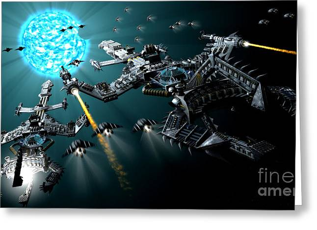 Interstellar Travel Greeting Cards - Two Warships Approaching A Blue Giant Greeting Card by Rhys Taylor