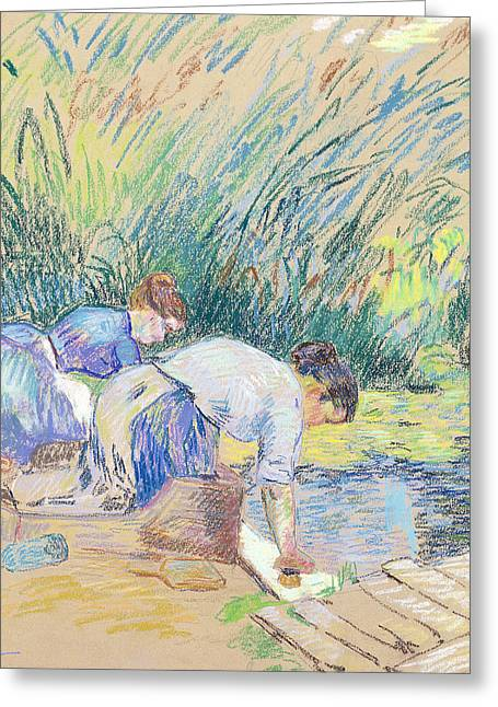 Apron Pastels Greeting Cards - Two Washerwomen Greeting Card by Jean Baptiste Armand Guillaumin