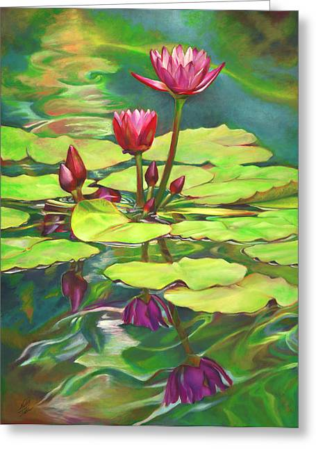 Gallery Wrap Paintings Greeting Cards - Two Water Lilies and their Reflections Greeting Card by Nancy Tilles