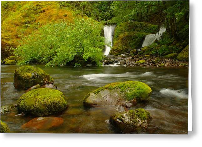 Two Waterfalls Along Eagle Creek Greeting Card by Jeff Swan