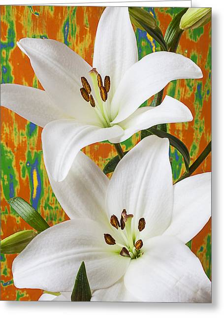 Stigma Greeting Cards - Two white lilies Greeting Card by Garry Gay
