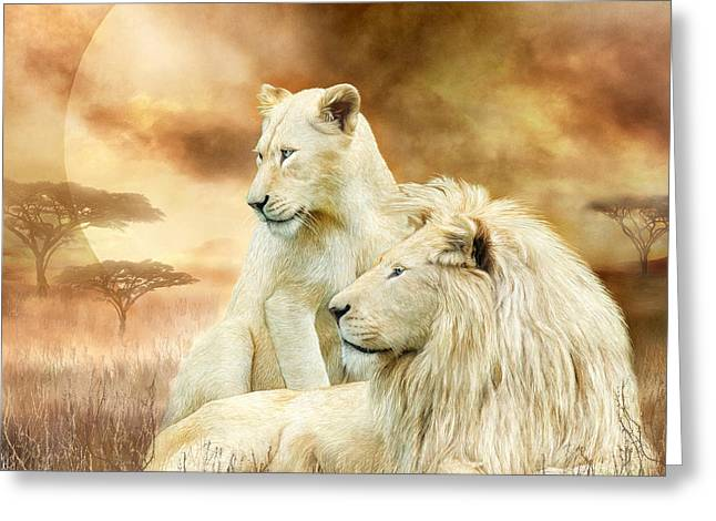 Recently Sold -  - Lioness Greeting Cards - Two White Lions - Together Greeting Card by Carol Cavalaris