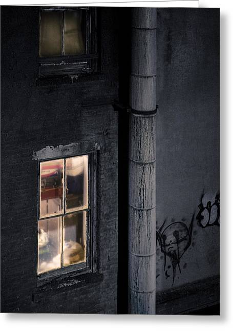 Looking In Greeting Cards - Two windows and pipe - Viewed from the Manhattan Bridge Greeting Card by Gary Heller