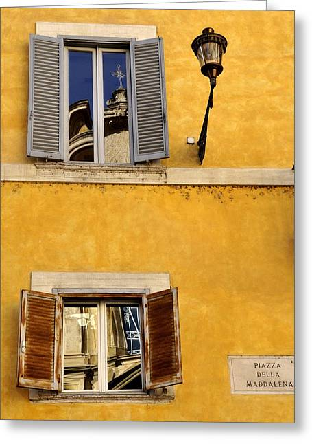 Church Fixture Greeting Cards - Two Windows in Rome Greeting Card by Caroline Stella