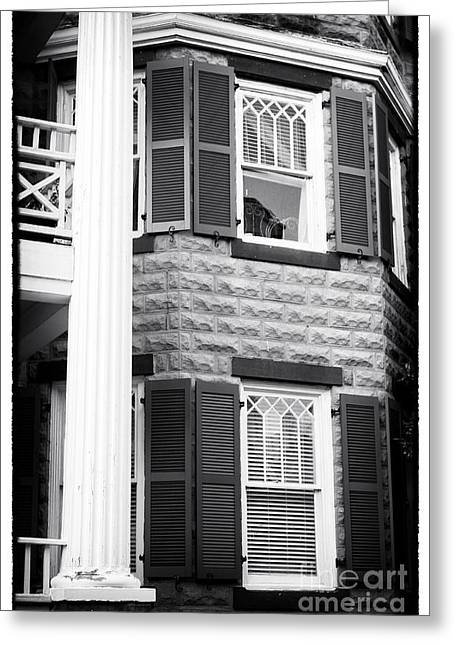 Chatham County Greeting Cards - Two Windows in Savannah Greeting Card by John Rizzuto