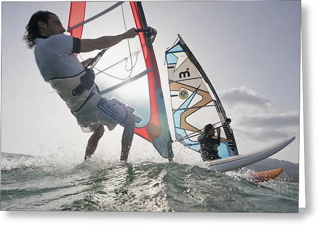 30-35 Years Greeting Cards - Two Windsurfers Side By Side Greeting Card by Ben Welsh