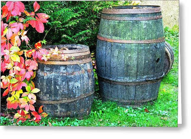 Wine Scene Greeting Cards - Two Wine Barrels and Red Ivy Digital Print Greeting Card by Greg Matchick