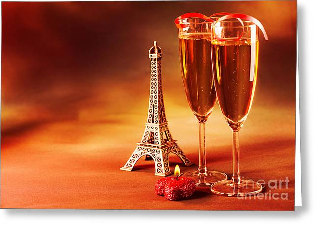Sparkling Wine Greeting Cards - Two wine glass Greeting Card by Anna Omelchenko