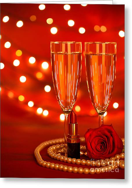 Sparkling Wine Greeting Cards - Two wine glasses Greeting Card by Anna Omelchenko