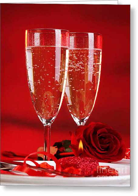 Sparkling Wine Greeting Cards - Two wineglass Greeting Card by Anna Omelchenko