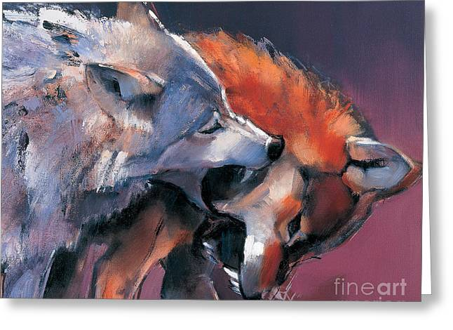 Furry Coat Greeting Cards - Two Wolves Greeting Card by Mark Adlington