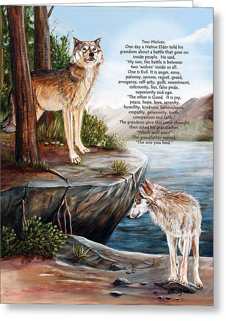 Best Sellers -  - Landscape Posters Greeting Cards - Two Wolves- poster Greeting Card by Dorothy Riley
