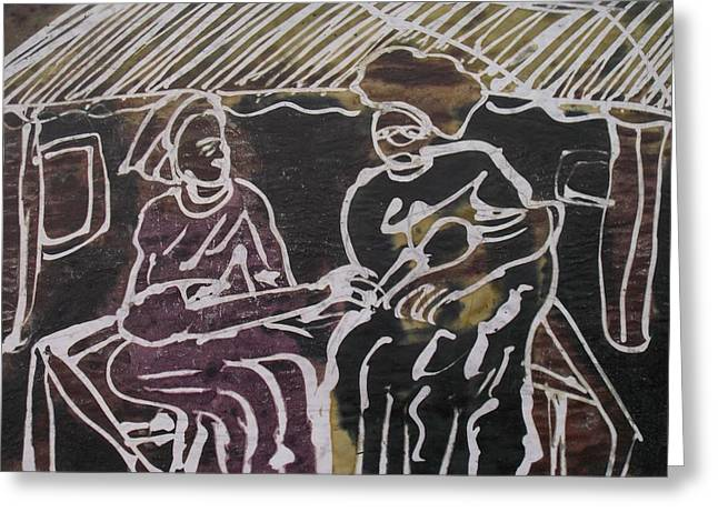 Shed Paintings Greeting Cards - Two Woman Under The Shed Goship. Greeting Card by Okunade Olubayo